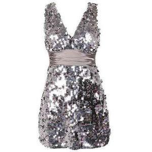 Silver Sequin Covered Mini Dress